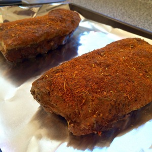 Ribs ready to get a crust in the oven