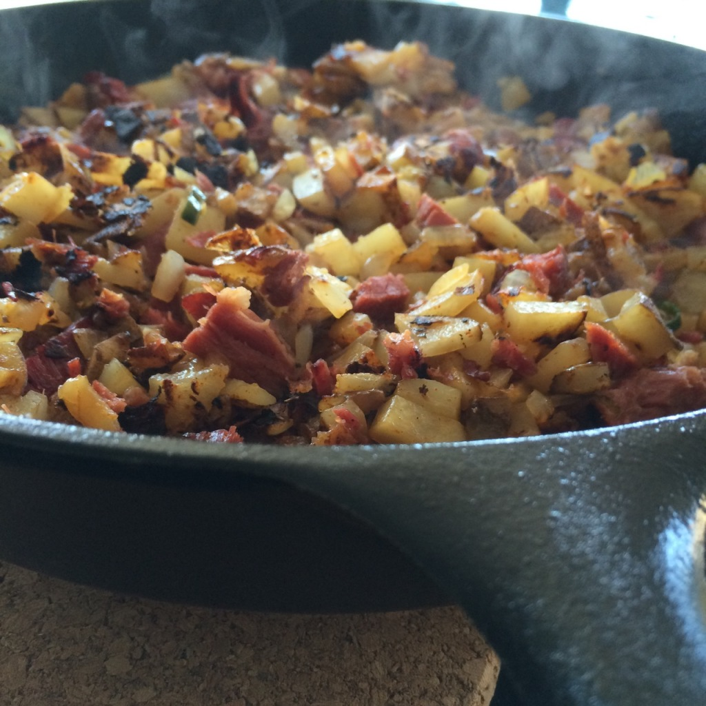 Corned Beef Hash in a Cast Iron Skillet
