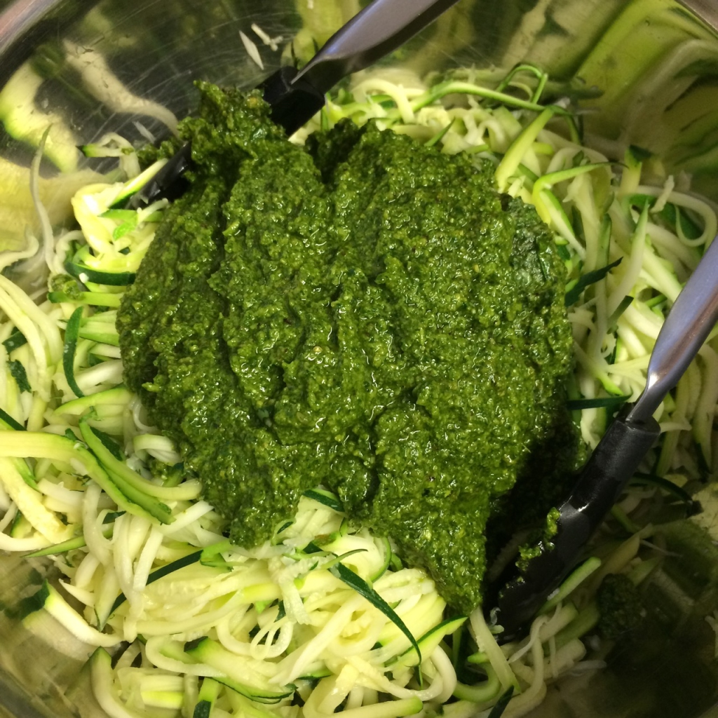 pesto and zucchini noodles