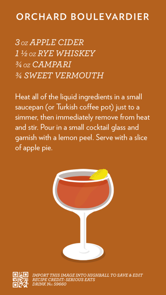 Orchard Boulevardier recipe card for Highball